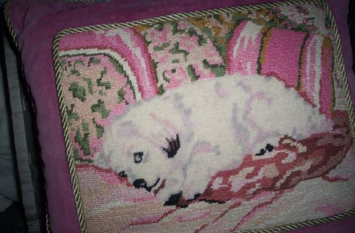 Custom Made Pretty Pink Animal/Dog Needpoint Pillow (Small)