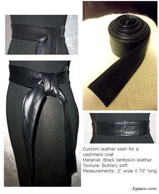 Custom Made Leather Sash Belt - Black