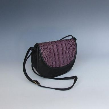 Custom Made Cory- Black With Purple Croco Accent Purse