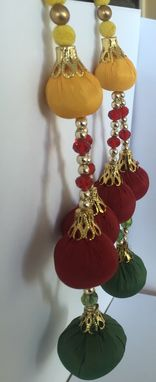 Custom Made Green Red Mustard Balls In Silk Fabric.Gold Beads,L-7.5', W-2.5'