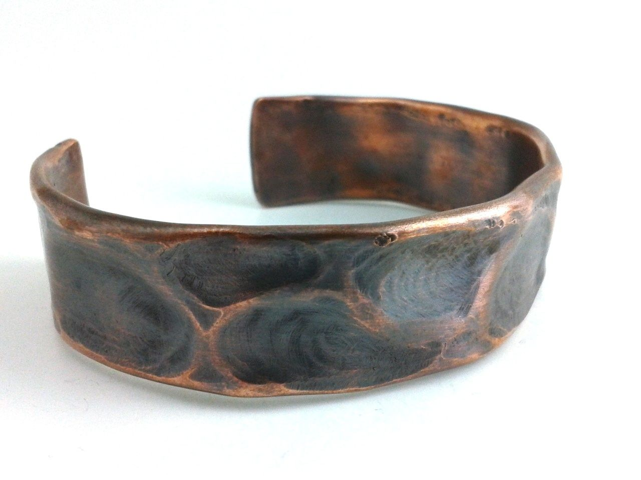 Hand Crafted Mens Copper Bracelet Cuff Rustic Antique Oxidized Forged