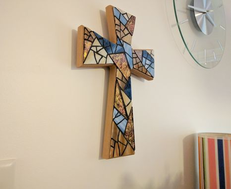 Custom Made Stained Glass Blue Mosaic Wall Cross, Handmade Baptism Wall Cross