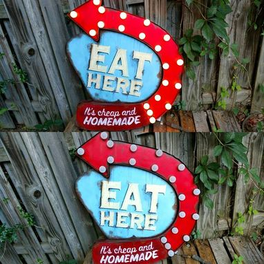 Custom Made Eat Here Lighted  Wall Art