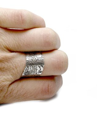 Custom Made Textured Sterling Ring - Wave Ring - Etched Silver Ring - Boho Ring - Contemporary Ring