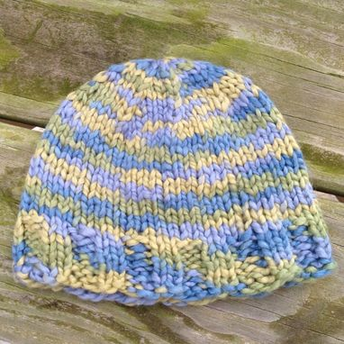 Custom Made Organic Cotton Baby Hat Knit Blue Green Newborn