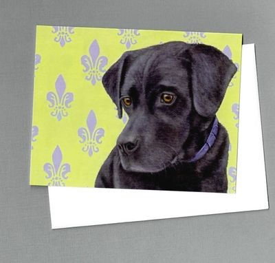 Custom Made Black Lab Note Cards - 4 Pack - Labrador Retriever Cards - Dog Art Note Cards