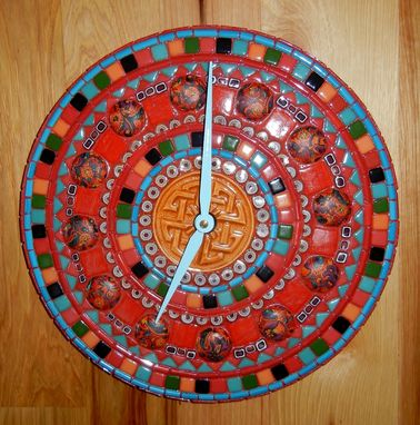 Custom Made Red & Turquoise Celtic Clock