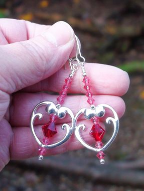 Custom Made Ruby Red And Pink Swarovski Crystals In Heart Bead Frames
