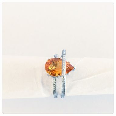 Custom Made Women's Contemporary 14k White Gold Diamond With Pare Shape Citrine Ring