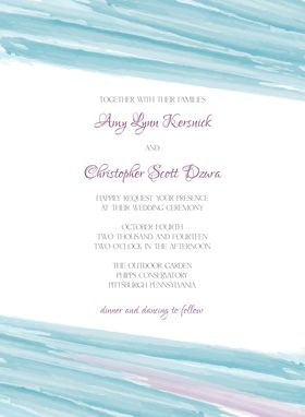 Custom Made Watercolor Wedding Invitation Suite -- Invite, Response Card + Reception Card