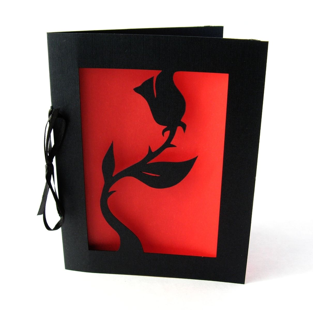 Buy A Hand Made Black Rose Valentine Cut Paper Silhouette Greeting