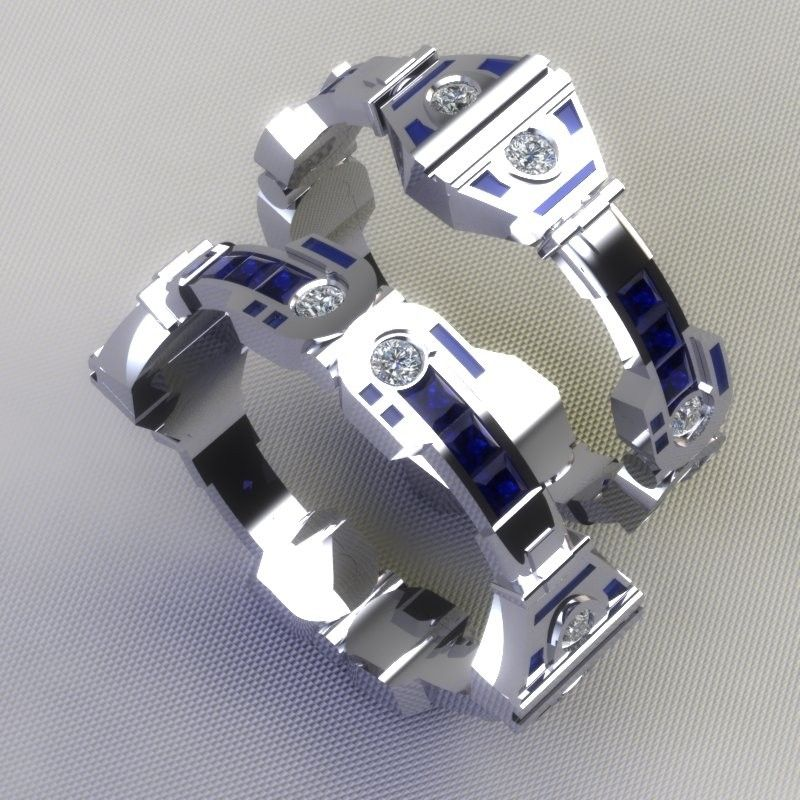 custom made r2d2 wedding bands - Steampunk Wedding Rings