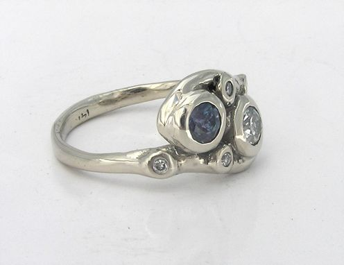 Custom Made Mother's Ring- Custom Made One Of A Kind Design- 14k White Gold & Gemstones- Lost Wax Cast