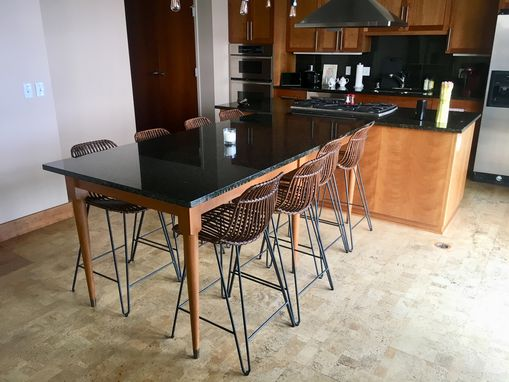 Custom Made Loft Cherry Wood And Granite Kitchen/Dining Table