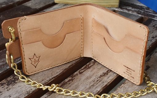 Custom Made Jp Leathercraft Handmade Bi-Fold Biker Wallet In Natural Vegetable Leather With Brass Chain