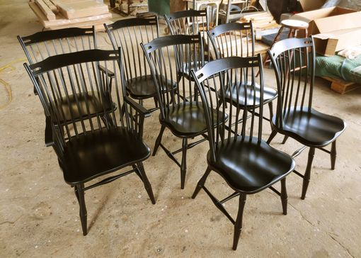 Custom Made Set Of 6 Thumb Back Dining Room Chairs