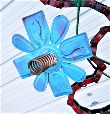 Custom Made Blue Metal Flower Wall Art Wallhanging