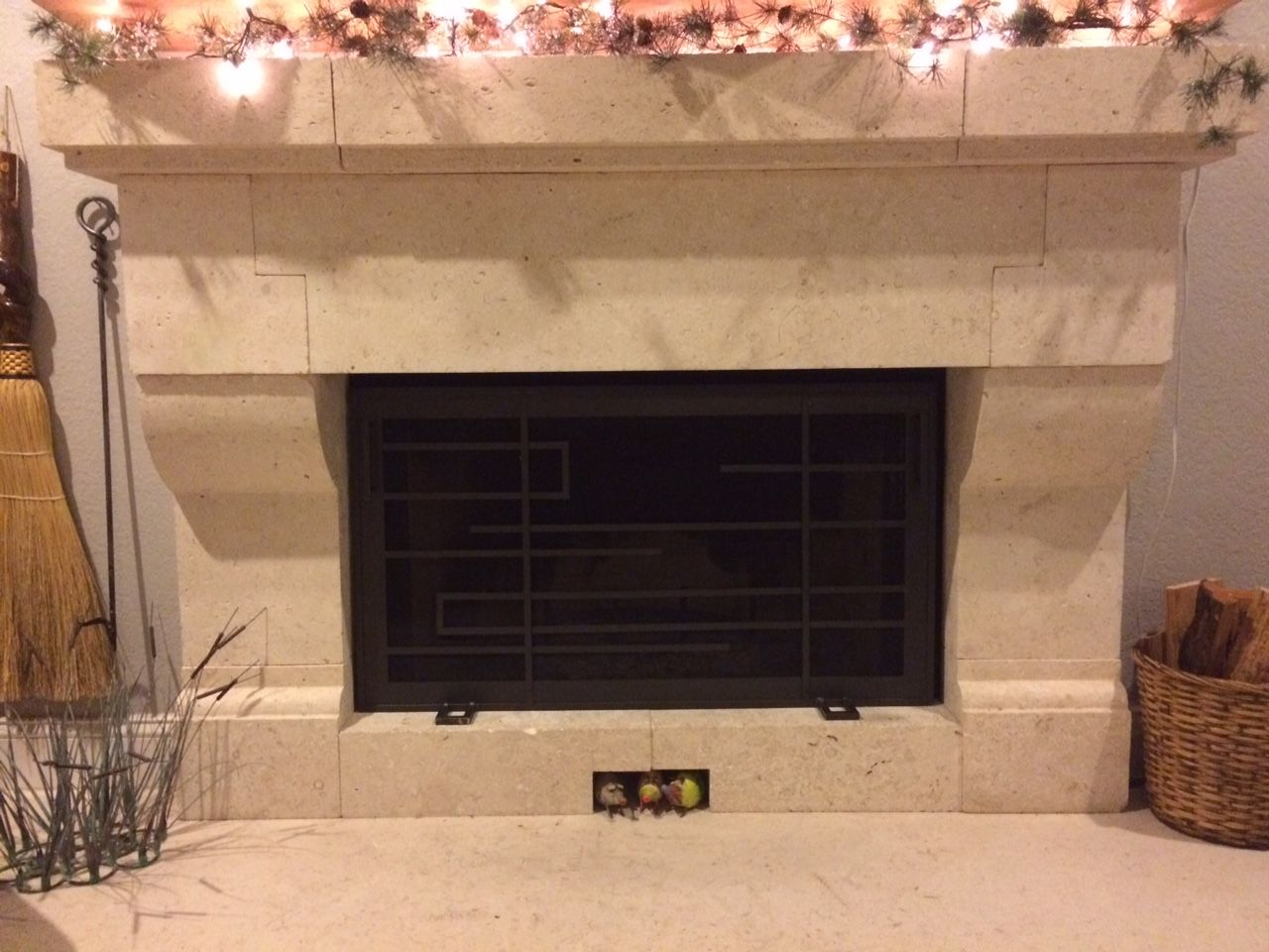 custom frank lloyd wright style fireplace screen by iron mountain
