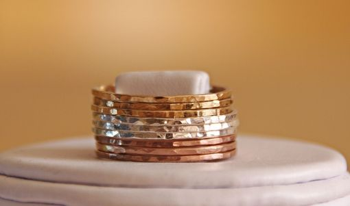 Custom Made Tri Color Set Of 9 X 14k Rose And Yellow Gold Filled And Sterling Silver Hammered Stackable Rings