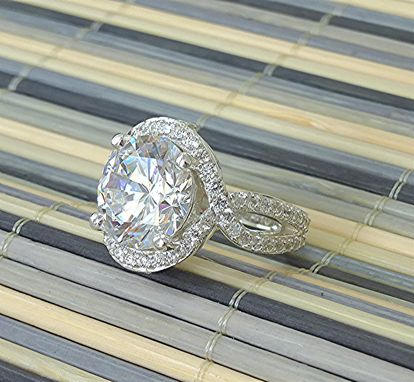 Custom Made Silver And Cz Ring For 12mm Round Center