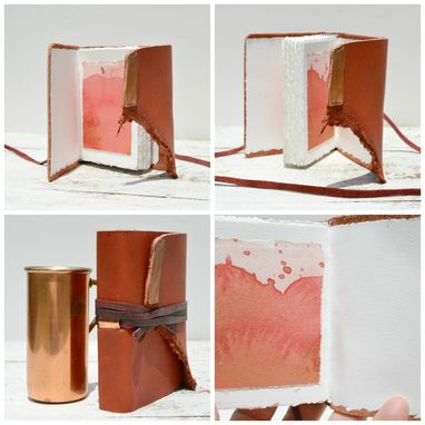 Custom Made Red Leather Bound Handmade Journal Watercolor Art Notebook Copper Travel Evening Diary