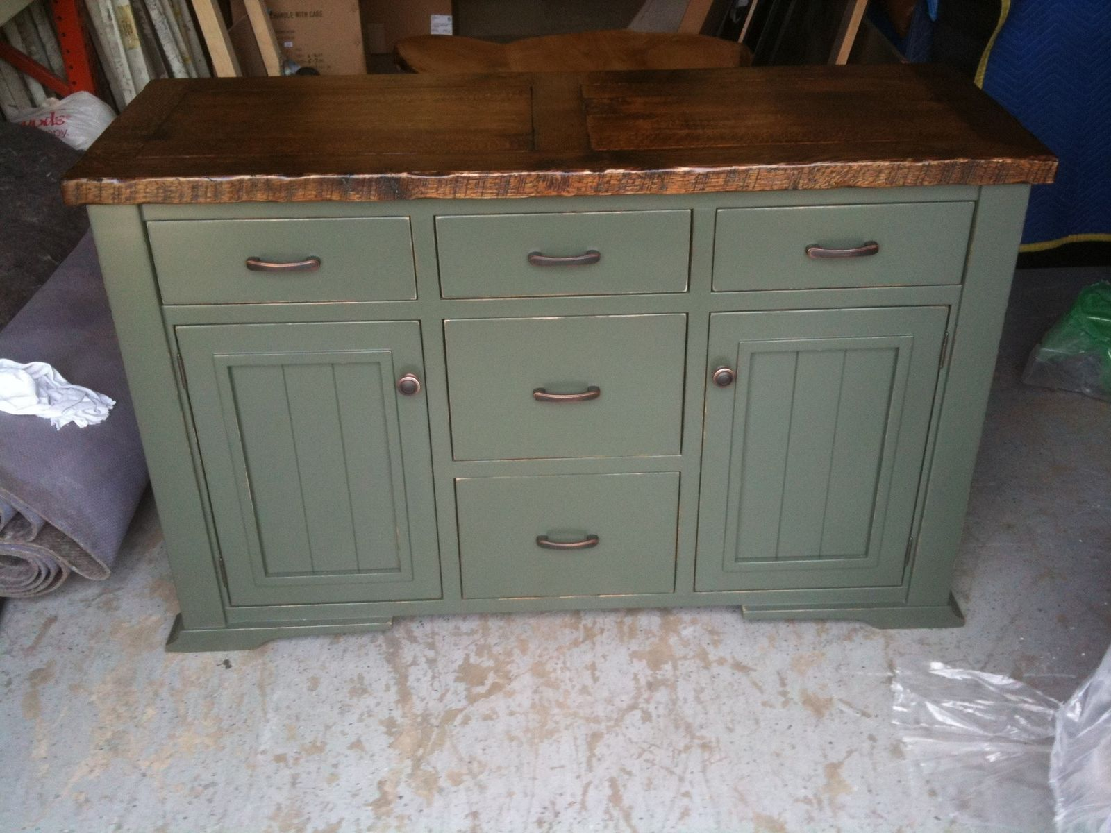 Hand crafted distressed painted sideboard by jeremy for Painted buffet sideboard