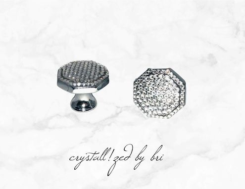 Custom Made Pair Crystallized Octagonal Cabinet Knobs Chrome Bling W/ Swarovski Crystals Bedazzled