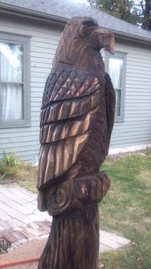 Custom Made Black Walnut Perched Eagle Chainsaw Carving
