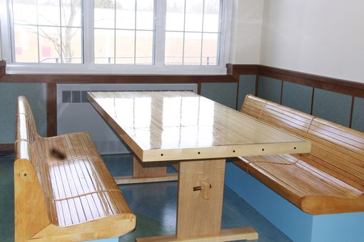 Hand Crafted Bowling Alley Dining Table With Benches By