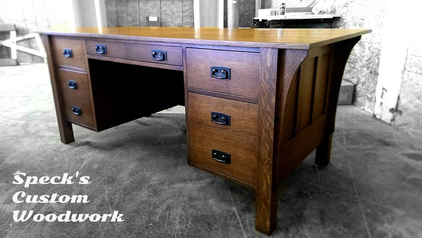 Hand Made Stickley Executive Desk By Speck Custom Woodwork
