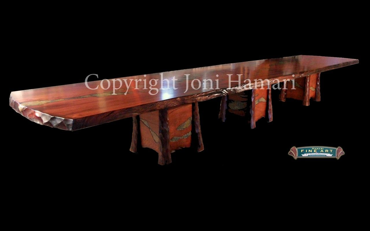 Hand Crafted Live Edge Wood Slab Giant Sequoia Conference