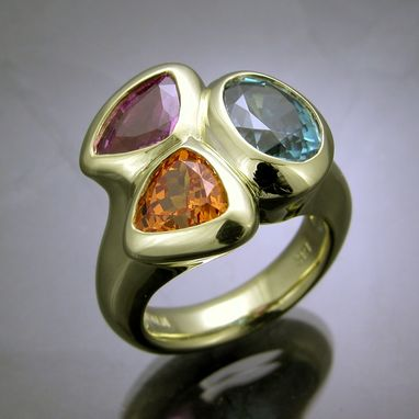 Custom Made Handmade 3 Stone Ring