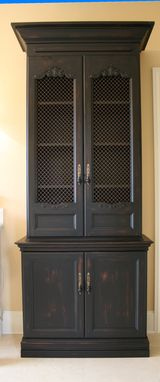 Custom Made Distressed, Painted Linen Cabinet