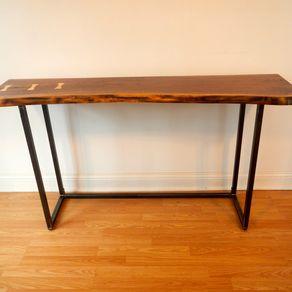 Live Edge Walnut Console Table Sofa Free Form