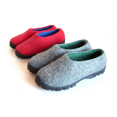 Custom Made Mens Slip On Felted Shoes Gray Greenery
