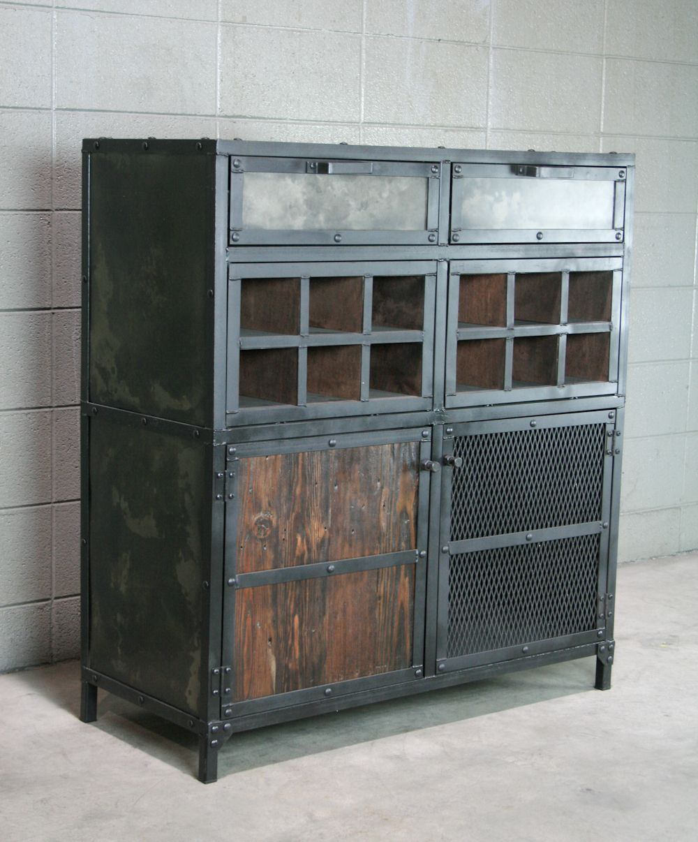 Buy a hand crafted modern industrial liquor wine cabinet for Wood and metal cabinets