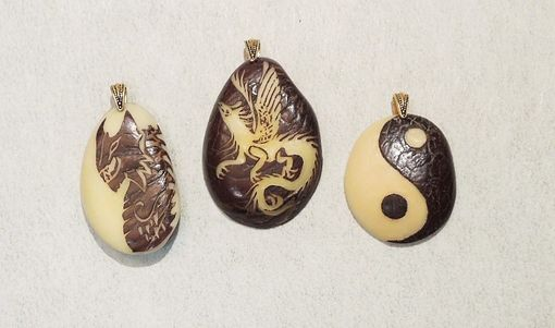 Custom Made Yin Yang Sign And Double Sided Dragons - 3 Pendants