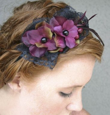 Custom Made Sexy Black Lace And Plum Flower Headband For Woman And Girls
