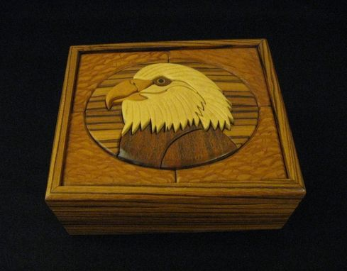 Custom Made Intarsia Eagle Head Keepsake Box