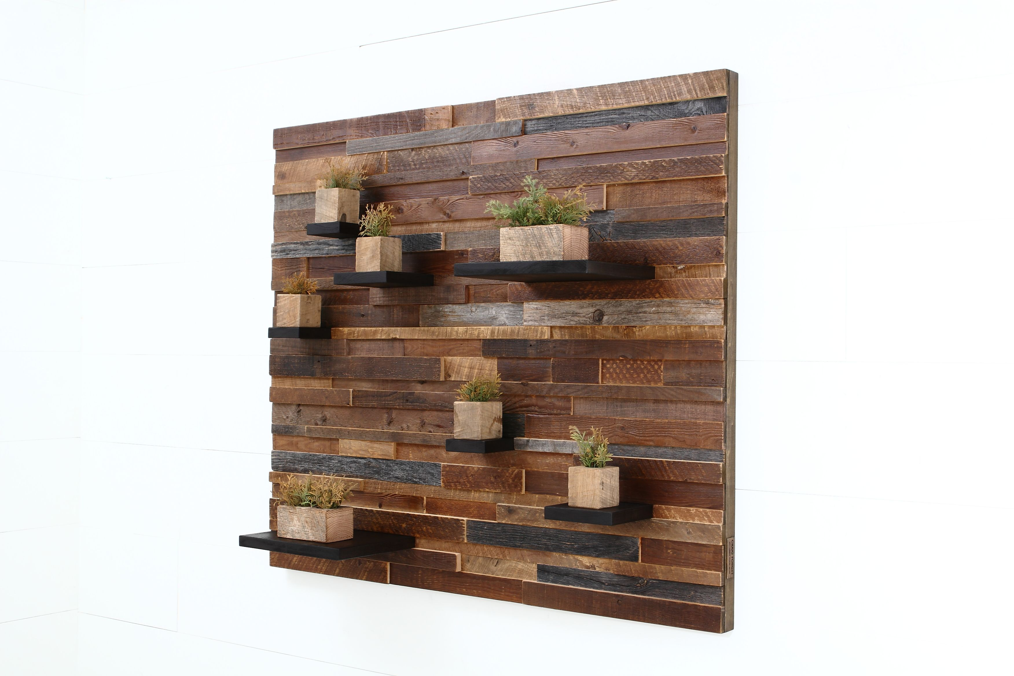 Hand Crafted Floating Shelf Artwork Made Of Old Reclaimed Barn Wood