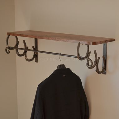 Custom Made Coat Rack Shelf Black Walnut Horseshoe 40″