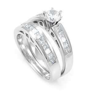 Custom Made Princess Diamond Ring And Matching Band In 14k White Gold, Wedding Set