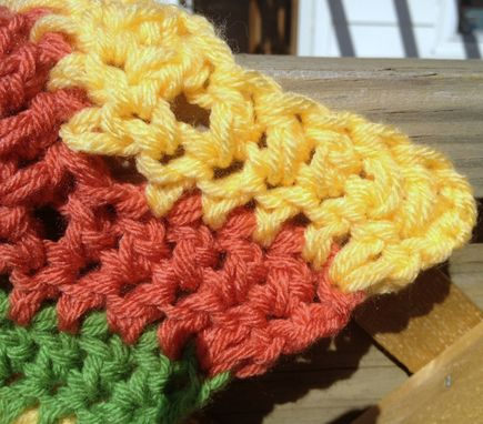 Custom Made Crochet Baby Blanket Chevron Pattern Coral Green Yellow