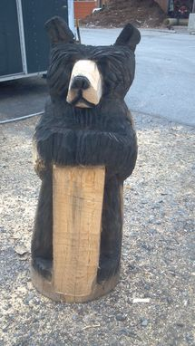 Custom Made Standing Chainsaw Carved Black Bear Sculpture With Customizable Sign