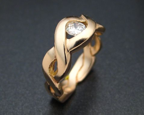 Custom Made 14k Gold Moebius Ring With Diamond
