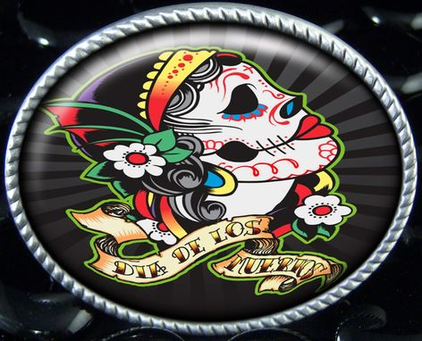 Custom Made Day Of The Dead Dia De Los Muertos Sugar Skull Belt Buckle Bb-75-So