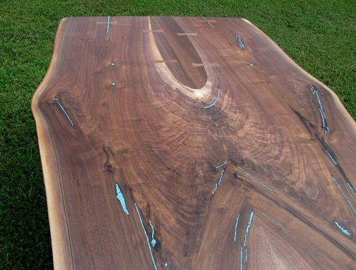 Custom Made Crotch Walnut Slab Dining Table Turquoise Inlaid