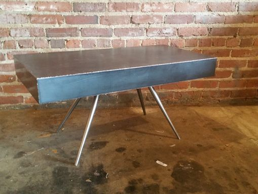 Custom Made Mid Century Industrial End Table - Blackened Steel And Brass