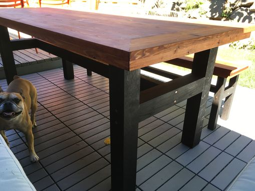 Custom Made Outdoor Cedar Farmhouse Table With Copper Accents