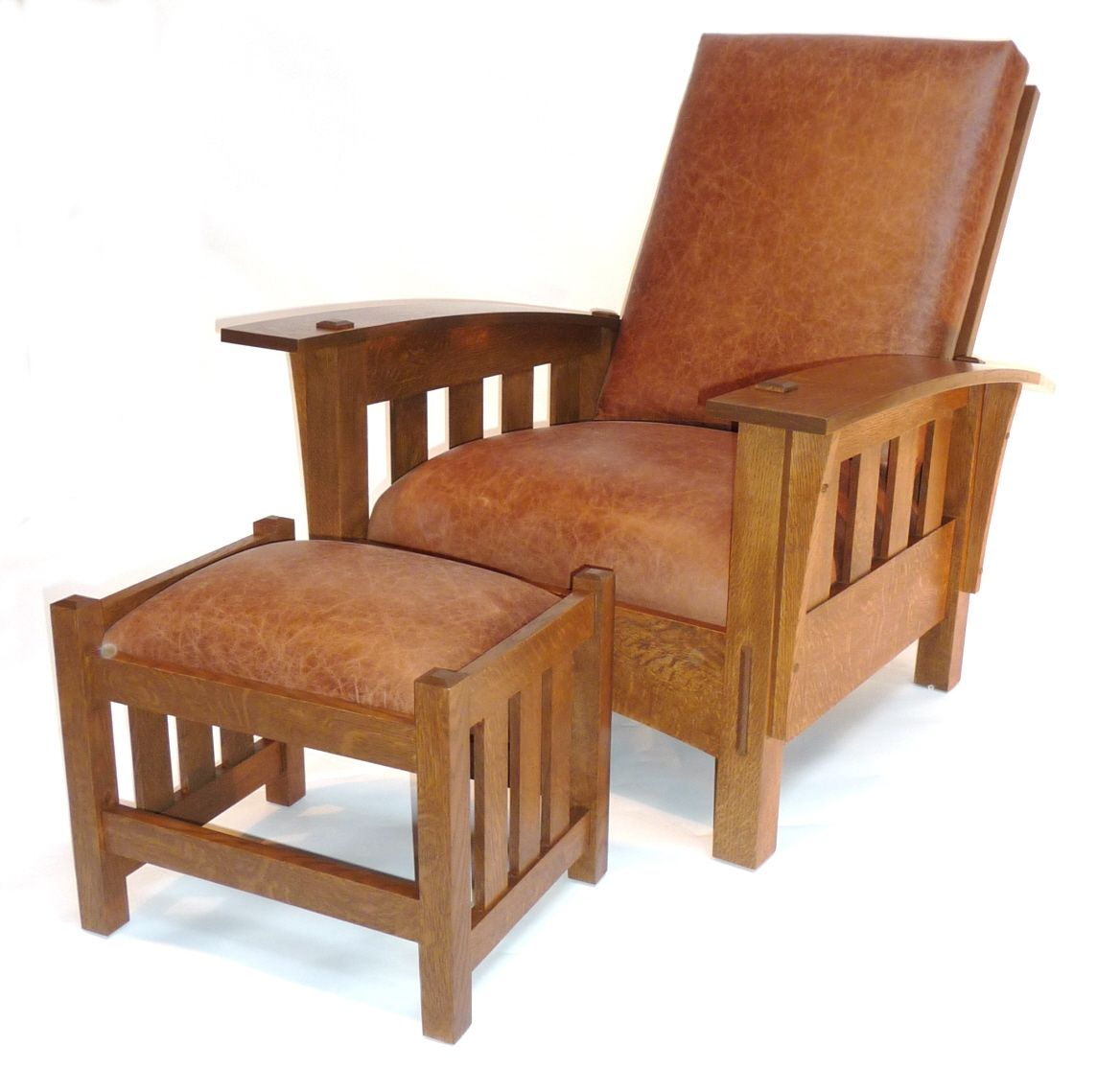Hand Crafted Bow Arm Arm Morris Chair With Footstool By